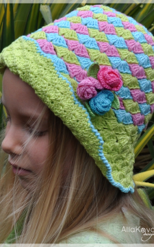 Rose Buds Crocheted Hat Pattern Sizes 12M-Adult PDF eBook