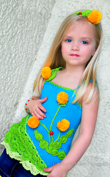 Dandelion Tunic Sizes 2-12 Pattern/PDF Hand Knitted with Crochet details