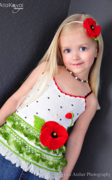 Poppy Tank Top Sizes 2-12 Pattern/PDF Hand Knitted with Crochet details