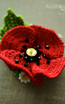 Garden Party. POPPY Pin/Headband Crochet Pattern/eBook