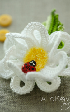 Garden Party. DAISY Pin/Headband Crochet Pattern/eBook