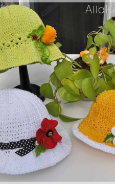 Garden Party. HAT & POPPY, DANDELION and DAISY Pins/Headbands Crochet Pattern/eBook