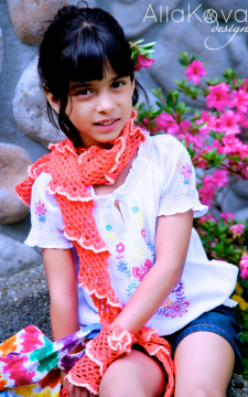 Coral Reef Scarf, Gloves and Pin 3pc set Crochet Pattern/Ebook PDF