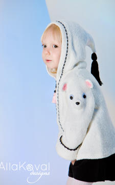 Polar Bear Coat Sizes 12M-6T Pattern Hand Knitted with crochet details