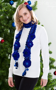 Royal Blue. Genia Crocheted Scarf & Flower Pins Pattern/eBook/PDF