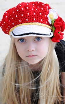 Polka Dots Reversible Cap & Poppy Pin Set Pattern Sizes Baby to Adult Crochet