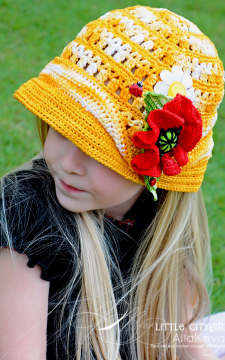 Double Fun in the Sun Hat & Poppy Pin Crochet  Pattern Sizes Baby to Adult PDF eBook