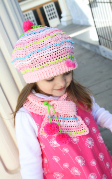 Parfait. Crocheted Hat & Scarf Baby to Adult Pattern in PDF format ONLY!