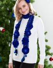 Royal Blue. Genia Crocheted Scarf & Flower Pins Pattern/eBook/PDF