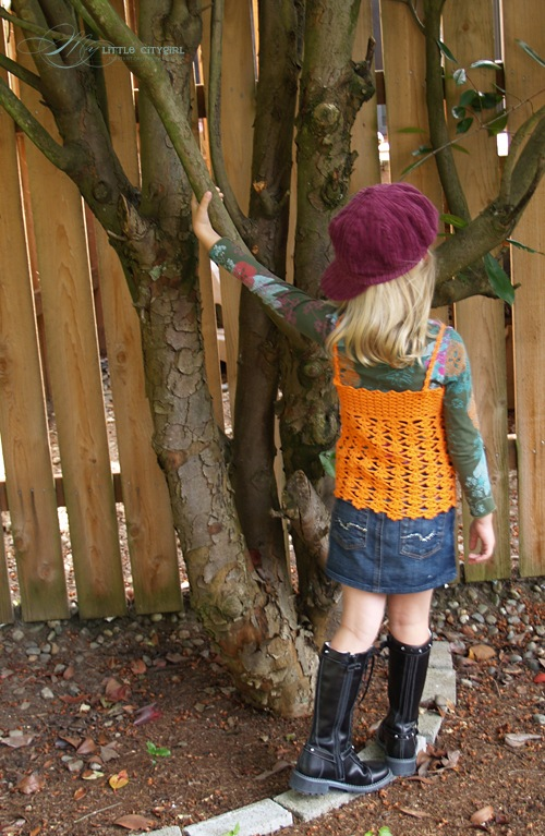 Orange Crochet Tank Corset FREE pattern for Kids | My Little CityGirl