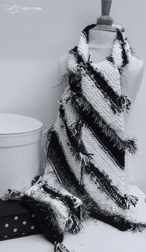 60 Scarves In 60 Days Challenge Black White Hand Knitted