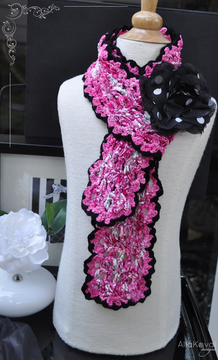 Valentine Scarf Pattern - Crochet -- All About Crocheting -- Free