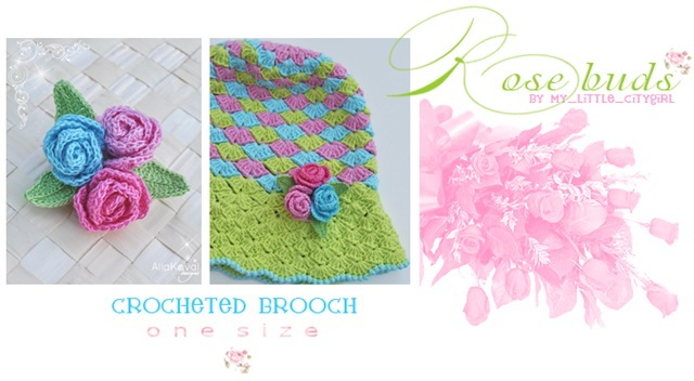 Rose Buds Crochet Brooch Free Pattern For Kids Adult My Little
