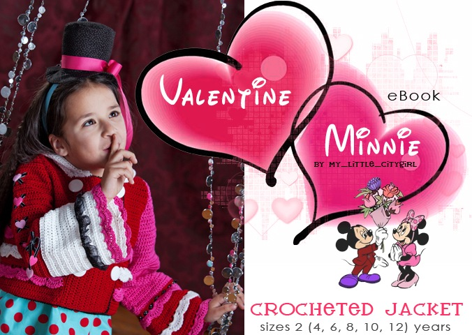 Valentine Minnie. Crochet Jacket Pattern for KIds | My Little CityGirl