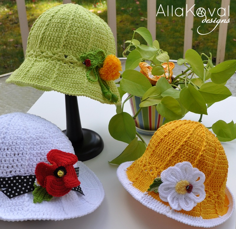Crochet Pattern floppy summer hat with rose (67) (Crochet hats