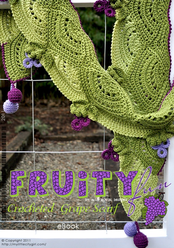 Grape Crochet Scarf Pattern for Kids & Women  My Little CityGirl Crochet Scarves For Kids Patterns