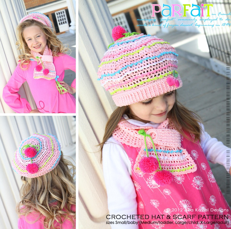 Girls Scarf Knitting Pattern : Parfait. Crocheted Hat & Scarf Pattern for Kids and Adult My Little Cit...