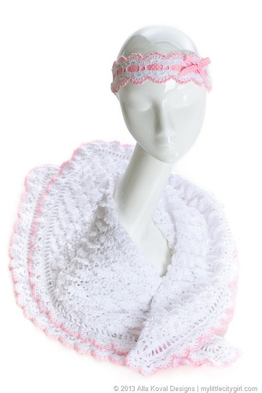 Fluffy Clouds Headband Scarf Crocheted Pattern For Kids